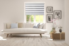 Roller blind in PVC cassette Day-Night Exclusive Srebro Paseczki BH2308