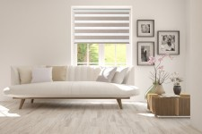 Roller blind in PVC cassette with guide Day-Night Exclusive Piaskowy Drewnopodobny BH1502