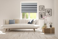 Roller blind in PVC cassette with guide Day-Night Exclusive Czerń Paseczki BH2309