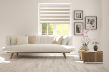 Roller blind in PVC cassette with guide Day-Night Exclusive Capuccino Paseczki BH2303