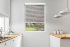 Roller blind in PVC cassette with a guide Borneo mocca 105