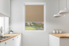Roller blind in PVC cassette with a guide melange kawowy 737