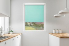 Roller blind in PVC cassette with a guide melange lazurowy 731