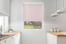 Blackout roller blind in PVC cassette with a guide pudrowy 062