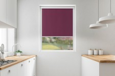Blackout roller blind in PVC cassette with a guide purpura 101